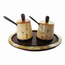 Bamboo Pattern Wooden Condiment Set with Spoon, Customized Shapes and Designs Welcomed