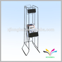 Modern style 2 tiers black metal display magazine movable book shelf with sign label