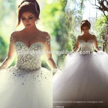 Luxury Wedding Dress See Through Crystal Ivory Ball Gown Custom Made Saudi Arabia Princess Bridal Gown 2016