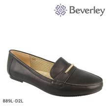confortável preto / branco vaca couro Casual Flat mulheres sapatos