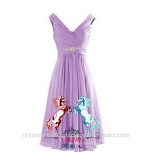 Venta al por mayor corto de dama de honor baratos vestidos de novia 2016 gasa vestido de noche con plisados mujeres vestidos de baile LBB07