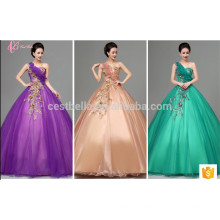 Latest Design Bride Gorgeous Purple Appliqued Strapless Floor Length Tulle Puffy Ball Gown Purple Wedding Dress