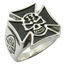 Moda da UE estilo crânio cruz punk rock anel de aço inoxidável fresco homens jóias