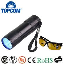 Mini 9 LED UV-Fackel-Schock-Beweis und Wasser-Widerstand UV-LED-Fackel