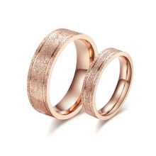 New design finger ring, korean sandblasting rose gold wedding ring