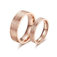 Novo design anel de dedo, jateamento coreano rosa anel de casamento de ouro