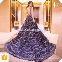 Spätestes Kleid Design Vestidos de Festa Marineblau Maxi Lange Abendkleid Abendkleid mit Bling Bing Stars