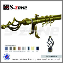 Szone wall mounted metal iron golden curtain rod for home decor