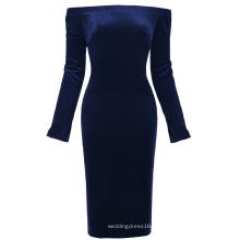 Kate Kasin de manga larga de las mujeres fuera del hombro caderas-Wrapped azul marino terciopelo bodycon lápiz vestido KK000500-2