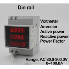 DIN Rail LED Range AC 200.0-450.0V 0-100.0A Display Voltmeter Ammeter with Active and Reactive Power and Power Factor