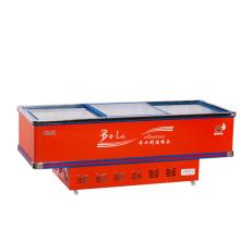 800L Porta deslizante Flat Gabinete Ilha Freezer para Supermercado