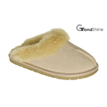 Women′s Cow Suede Slippers with Fur Collar