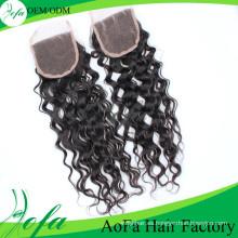 Pelo humano indio del pelo del cierre rizado de calidad superior de Aofa