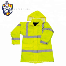 High visibility yellow safety reflective winter jacket