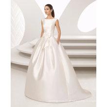 Elegante plissado cinto vestido de baile com vestido de noiva de cetim de bolso