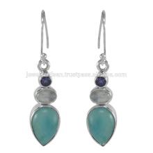 Hermosa Larimar y multi piedras preciosas 925 Sterling Silver Pendiente Joyería