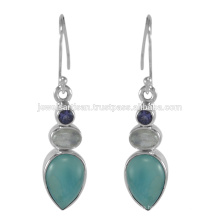 Beautiful Larimar And Multi Gemstone 925 Sterling Silver Earring Jewelry