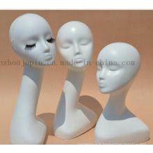 Mannequin factice de perruque en plastique de tête d'affichage de fenêtre faite sur commande