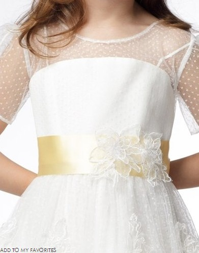 A-line Round Neck Short Sleeve Tea-length Satin Lace Layers Flower Girl Dresses