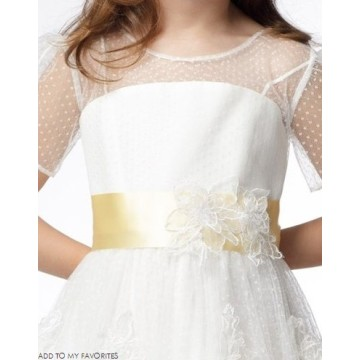 A-line Round Neck Short Sleeve Tea-length Satin Lace Layers Flower Girl Dresses