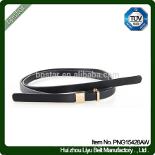 Simple Casual Lady Genuine leather Fashion Skinny belt Metal Buckle Waistband