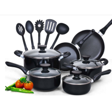 15 Stück Aluminium Non-Stick schwarz Soft Griff Kochgeschirr Set