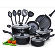 No palo de aluminio 15 piezas de utensilios de cocina conjunto de inducción de fundición