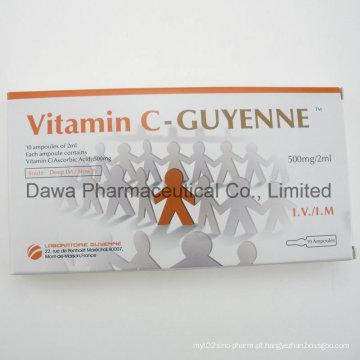 Beleza essencial Whitening Nutreint Cosmeticologyvitamin C injeção 500mg / 5ml, 500mg / 2ml