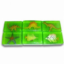 Soft Plastic Toy Inside Soaps, Includes Dinosaur, Starfish and Fish