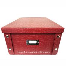 Caja de almacenamiento plegable de cartón de papel especial de cocodrilo multiusos con botón de metal