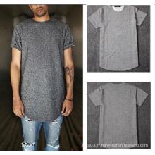 Grey Plain T Shirt Short Sleevs Hommes Casual