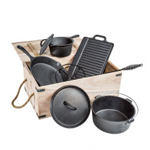 Juego de cocina para acampar del horno holandés de hierro fundido de 7 piezas, previamente sazonado