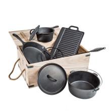 Pré-Temperado 7 Peça Ferro Fundido Holandês Forno Camping Cooking Set