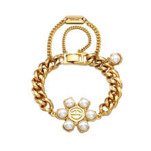 Delicate Pearl Flower-shaped Bracelet, Made of Alloy and Crystal, Customized Designs are Accepted