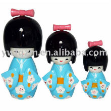 Artesanato em Madeira Folclórica Handmade Japan Kokeshi Doll