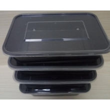 Neue Produkt Rechteckige schwarze PP Lunchbox