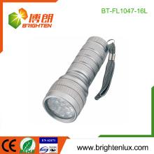 Factory Logo gedruckt EDC 3 * AAA Zelle Powered Portable Notfall 16 LED Metall Taschenlampe Fackel