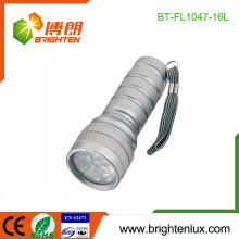 Factory Logo Printed EDC 3*AAA cell Powered Portable Emergency 16 LED Metal Flashlight Torch