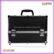 Maleta cosmética profesional negra grande de la caja de la belleza del ABS (SACMC088)