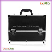 Mala cosmética profissional da caixa preta da beleza da superfície do ABS grande (SACMC088)