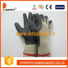 Guantes de algodón de venta caliente recubiertos de látex negro de espuma (DKL419)