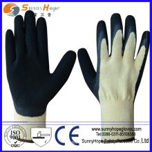 10G algodón / poliéster Caucho natural recubierto de caucho negro y guantes de látex