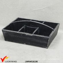 6 Compartimentos W / Handle Wood Tray