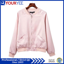 Fashion Stand Collar Baseball Satin Womens Bomber Jacket (YBJ114)