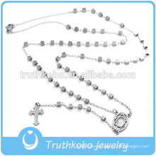 Christmas Jewelry Silver Cube Stainless Steel Bead Necklace wih Jesus Sideway Cross Rosary