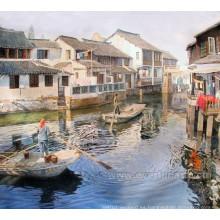 Pintura al óleo hecha a mano de la lona de la decoración de la casa del arte de la pared de la vida de la aldea (ESL-116)