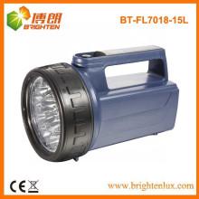 Fuente de la fábrica ABS Material 4D Batería Super brillante 15led Handheld Portátil llevó luces de emergencia