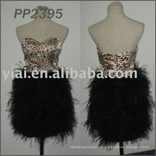 2011 Frete grátis de alta qualidade quente vendendo vestido de festa de penas curto 2011 PP2395