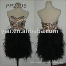 2011 бесплатная доставка высокое качество горячий продавать короткие перо платье 2011 PP2395