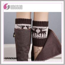 Winter Europe Spelled Color Elk Leg Warmers Foot Knitted Socks